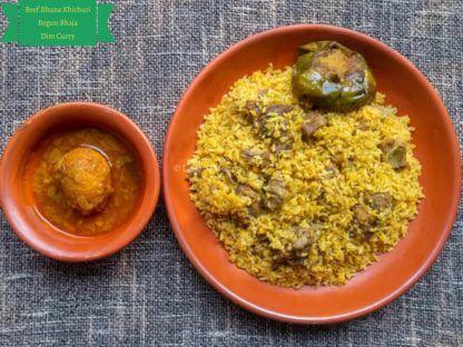 Beef Bhuna Khichuri Begun Bhaja Dim Curry desh catering service provider company dhaka