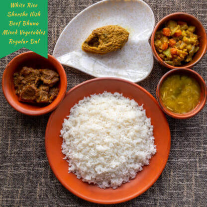 white rice shorshe ilish beef bhuna mixed vegetables regular dal desh catering dhaka