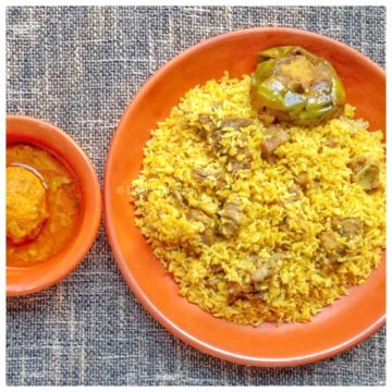 Beef Bhuna Khichuri + Begun Bhaja + Dim Curry