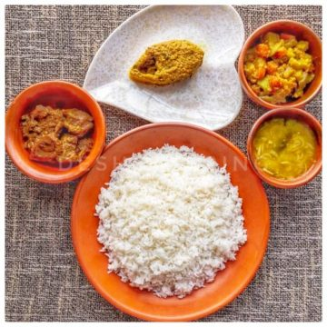 White Rice + Shorshe Ilish + Mixed Vegetable + Beef Vuna + Dal