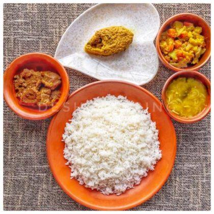 White Rice + Shorshe Ilish + Mixed Vegetable + Beef Vuna + Dal
