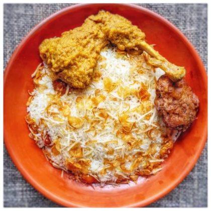 shahi polao + chicken roast + kabab